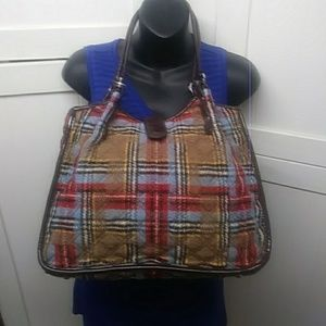 Vera Bradley Plaid and Brown Paten Leather Bag